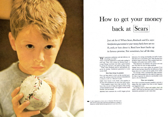 Ogilvy's Sears ad about how to get your money back